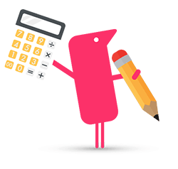 Texthelper character holding calculator and pencil