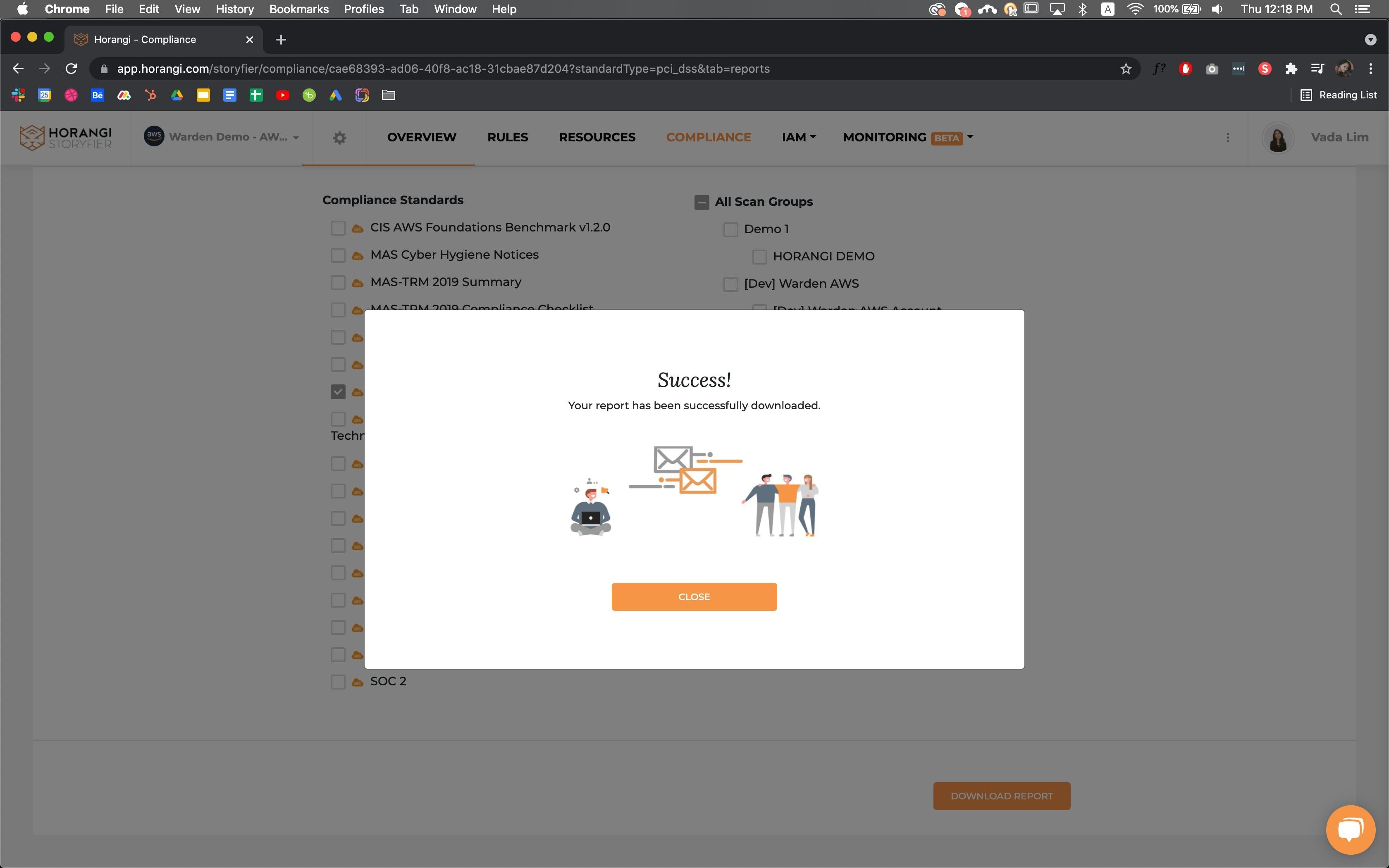 Report Download on warden