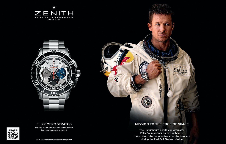Zenith advert for the El Primero Stratos Flyback