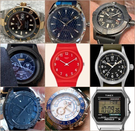 Grid of 9 different watches of many types as may be seen at our Watch Collector's Club Event