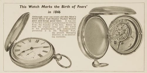 Vintage Advertisement for Fears Pocket Watches