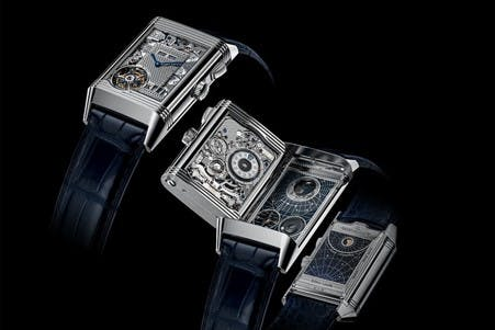 Reverso Quadtriptique showing all four dials and the complexity of the skeletonised movement.
