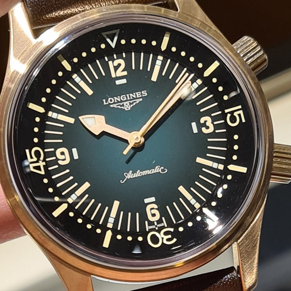 Longines Legend Diver Bronze Watch with Green Dial