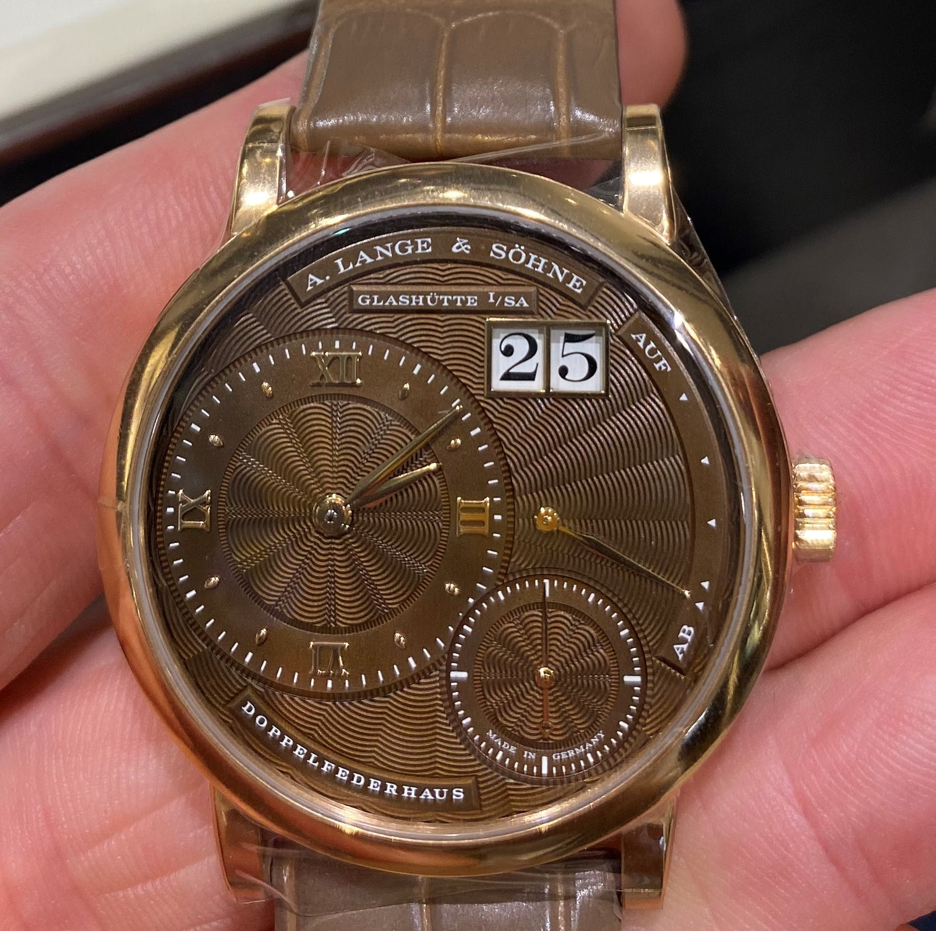 Lange 1 Gold watch with Brown engraved dial
