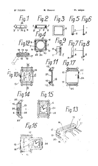 Drawing from the original patent for the Reverso case in 1931, showing the moving case mechanism