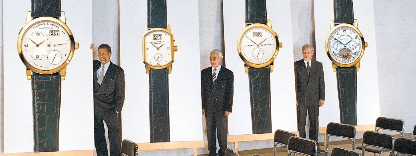 Lange relaunches as a new company in 1994 with four models; Lange 1, Arkade, Saxonia, Tourbillon Pour La Merite