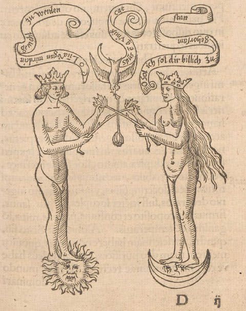 Simple line print of a crowned man standing on a sun facing a crowned woman standing on a moon, they hold sticks in a cross between them and above them is a bird holding scrolls with text on them.