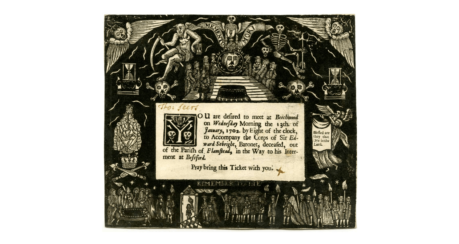 Ticket To Thomas Seers for Sir Edward Sebright's funeral. Highly decorated with black and white illustrations.