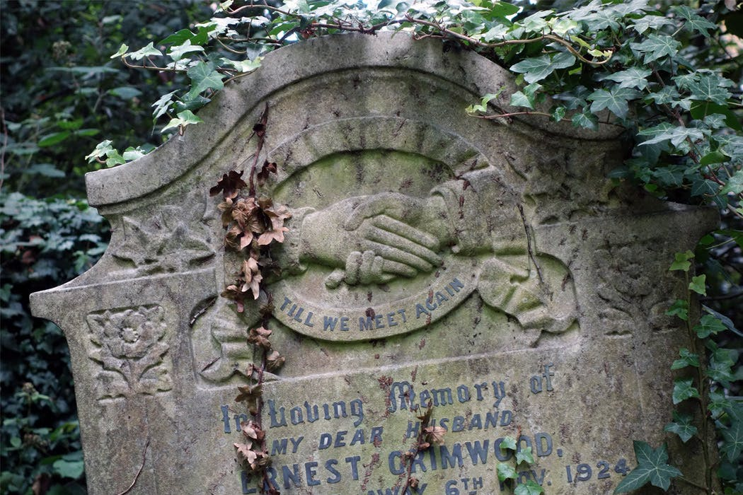 Close up of the upper part of a gravestone, with a carving showing two clasped hands above the inscription 'till we meet again'.