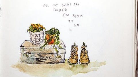"""Another small watercolor sketch by Nourie, this one a still-life of a suitcase, boots, and two potted plants. Next to illustration, Nourie has written: """"All my bags are packed I'm ready to go."""""""