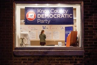Kenyon student Emma Welsh-Huggins in the Knox County Democratic Party office