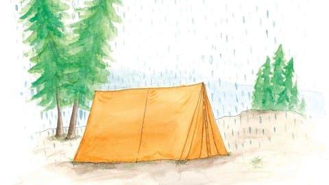 A tent under the mountain rain