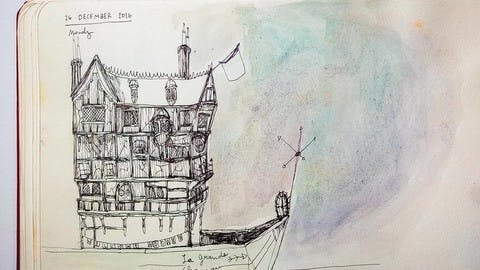 A watercolor sketch of a fantastical house-boat from Nourie's notebook
