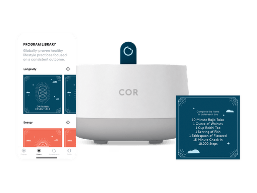 Overview image of the COR app, console, and cards