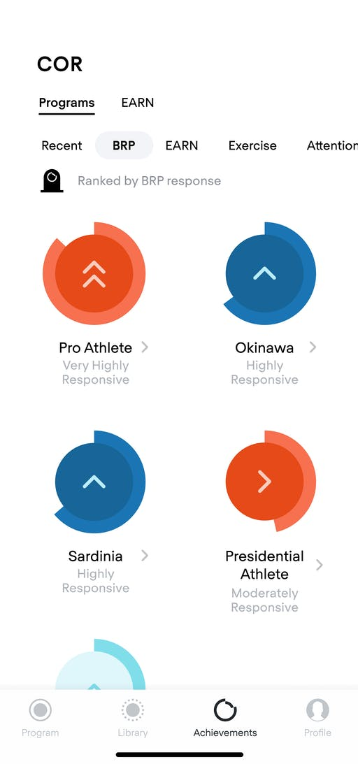 COR iOS app screen displaying achievements