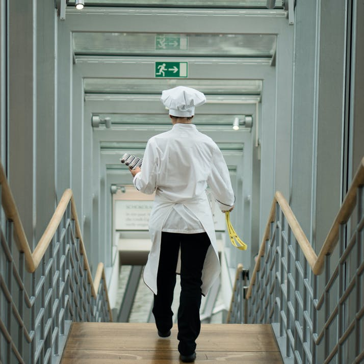 Chef walking down stairs