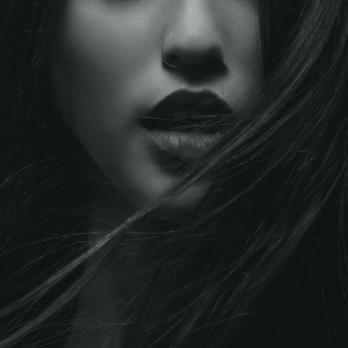 Woman lips and hair