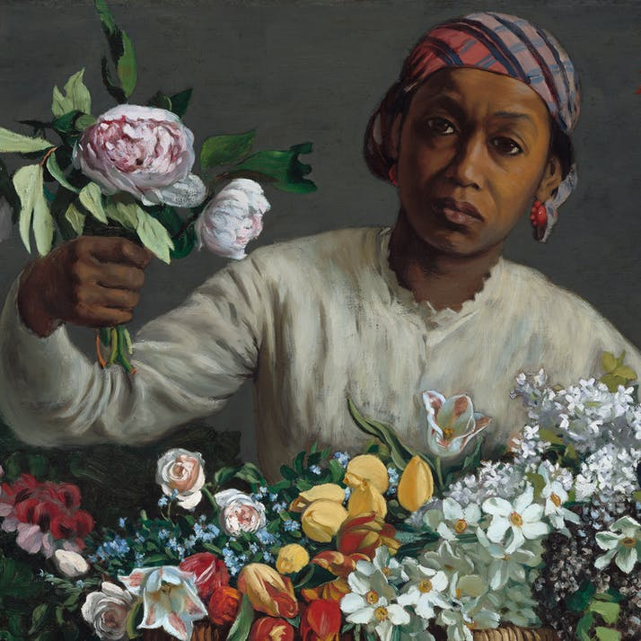 Black woman holding flowers