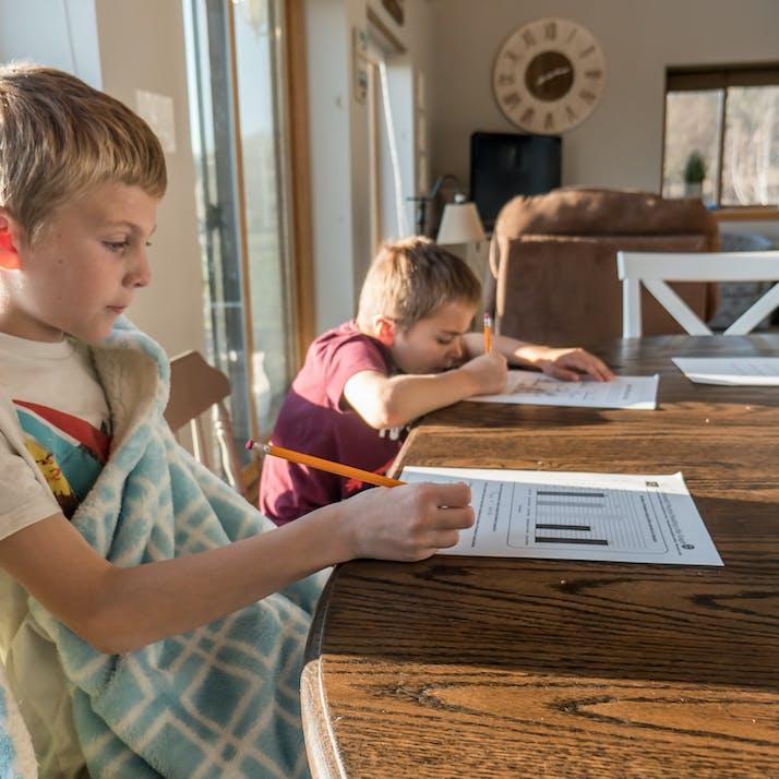 A kid learning in school