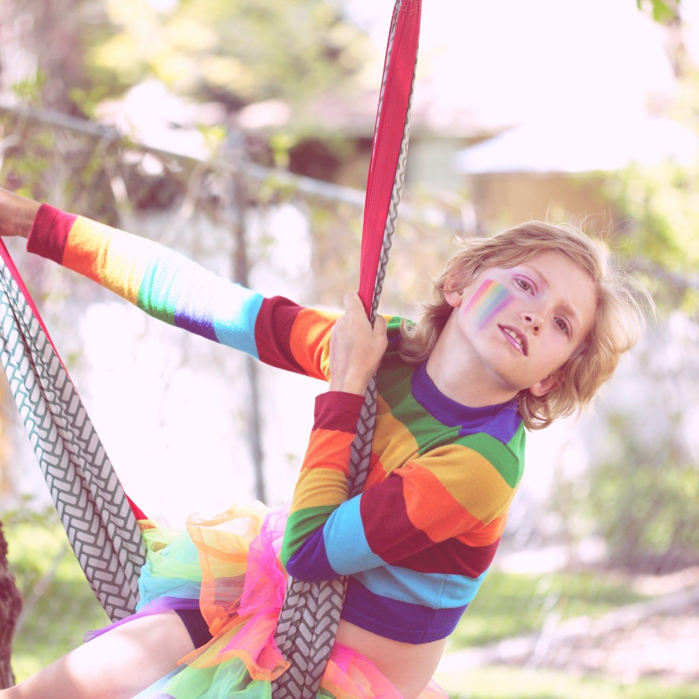 Kid swinging on hammock
