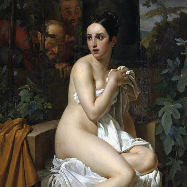 Paining of naked woman wrapped in sheet.