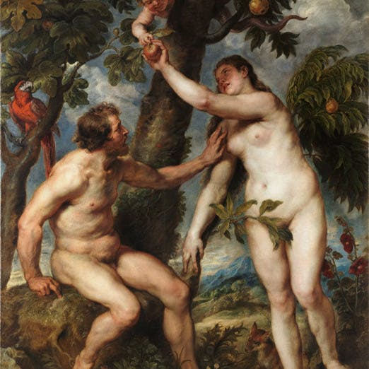 A painting of Adam and Eve eating the fruit by Peter Paul Rubens.