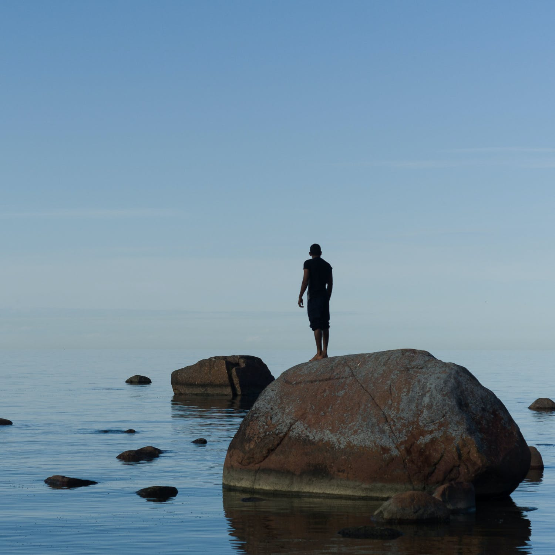 Human on rock