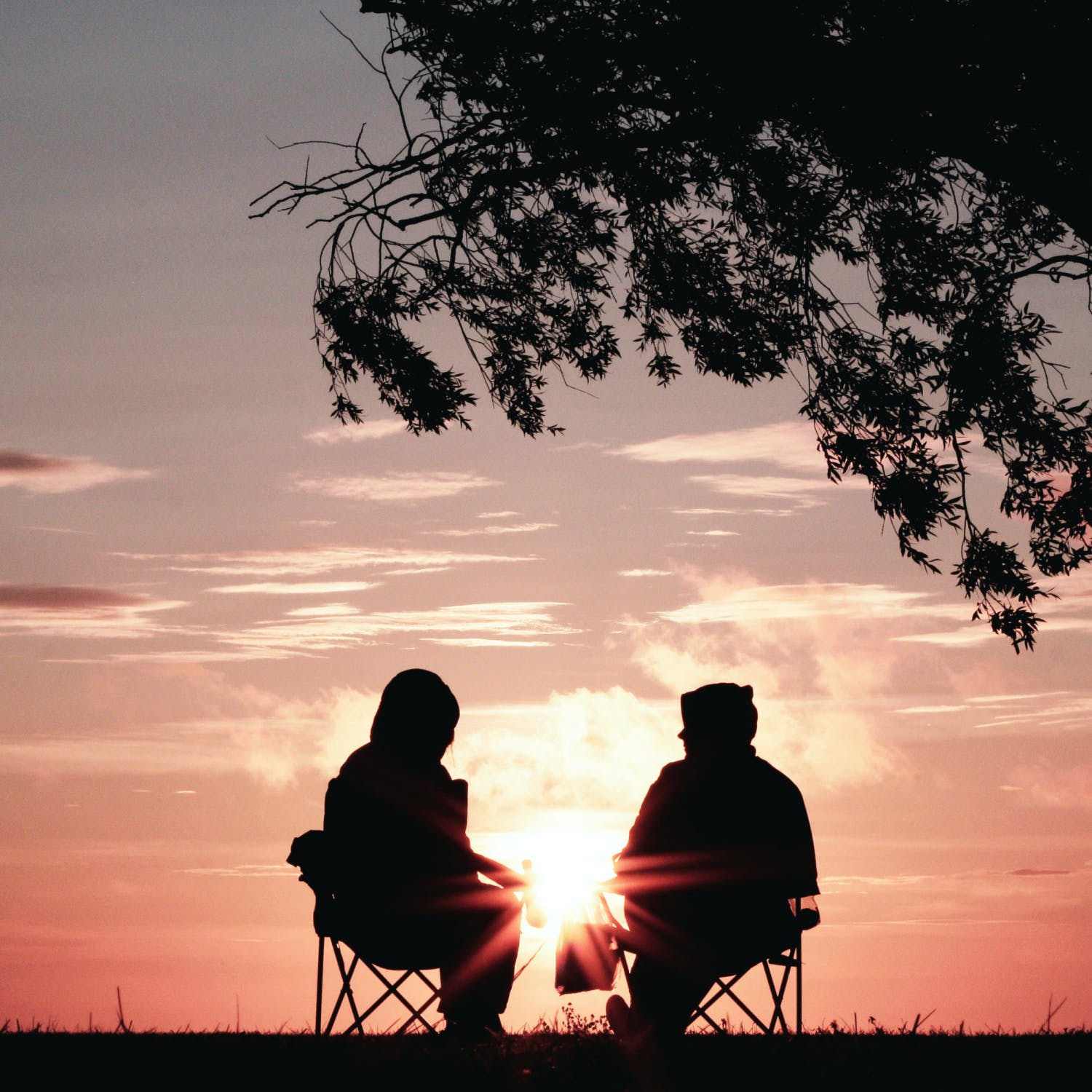 A silhouette of two people seated outside, under a tree.