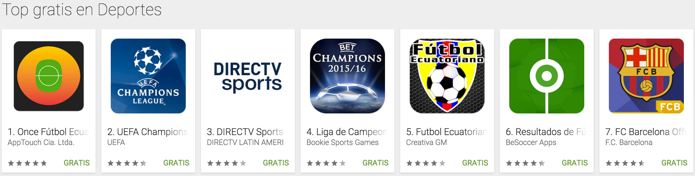 Once Soccer showing as top result for free Sport Apps
