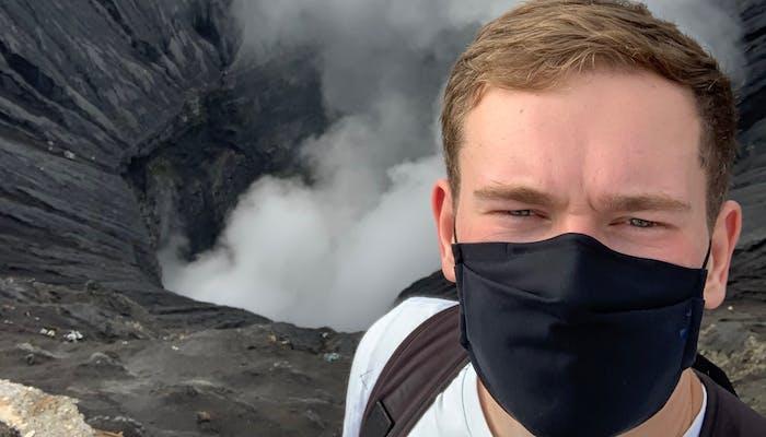 Max bij de vulkaan