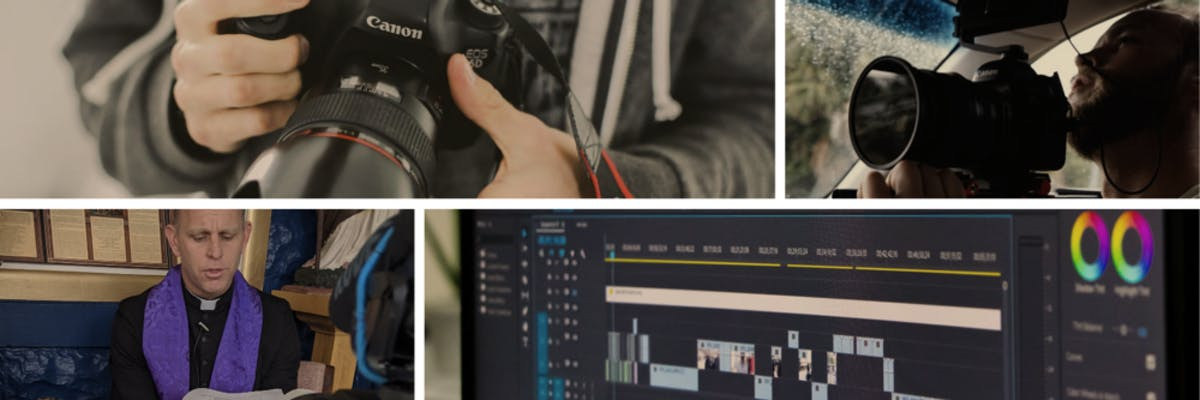An image with 4 images that include of a camera, Someone filming, a priest preaching, and a computer monitor with a video editor software.