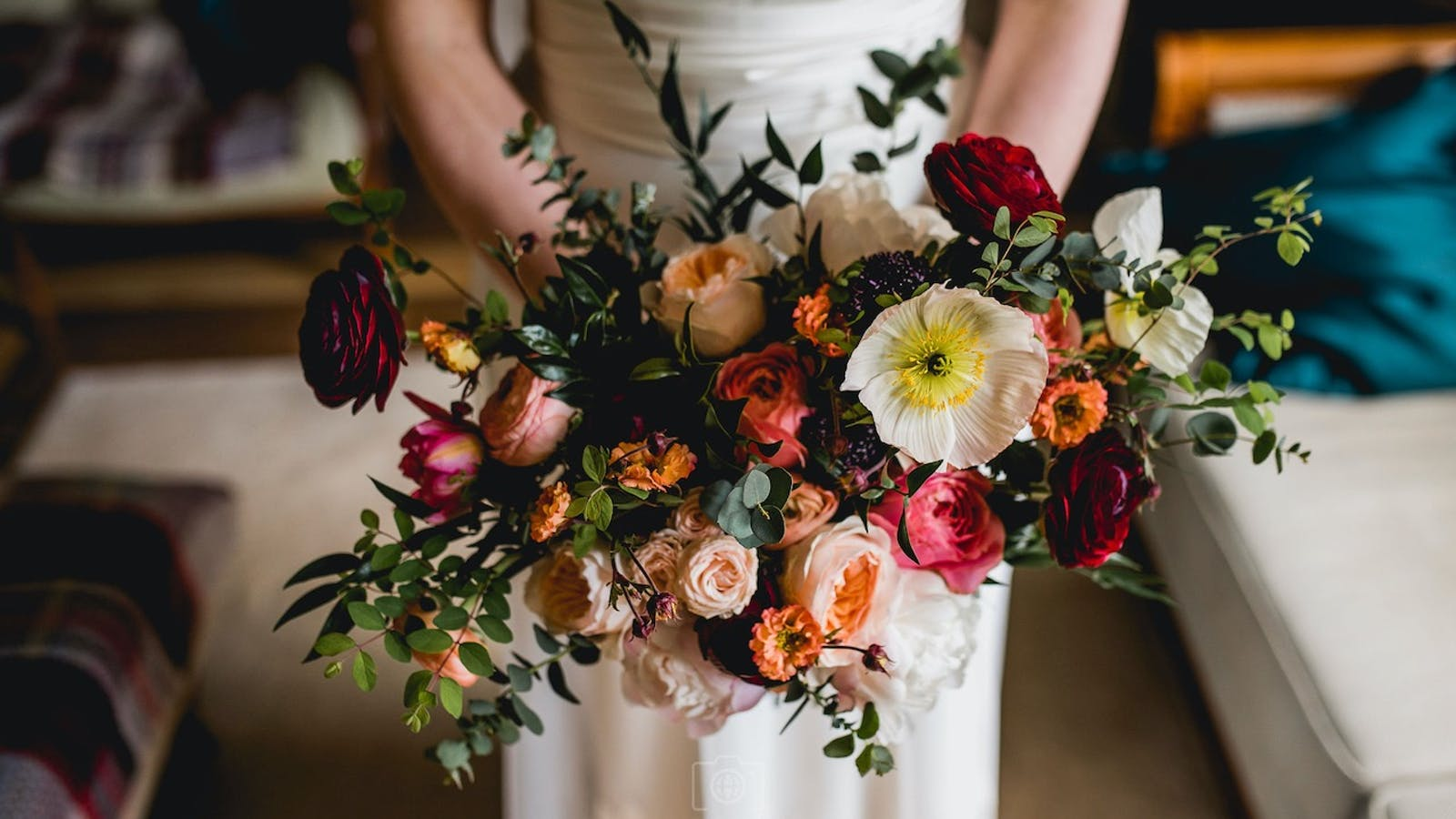 Maroon and peach bridal bouquet