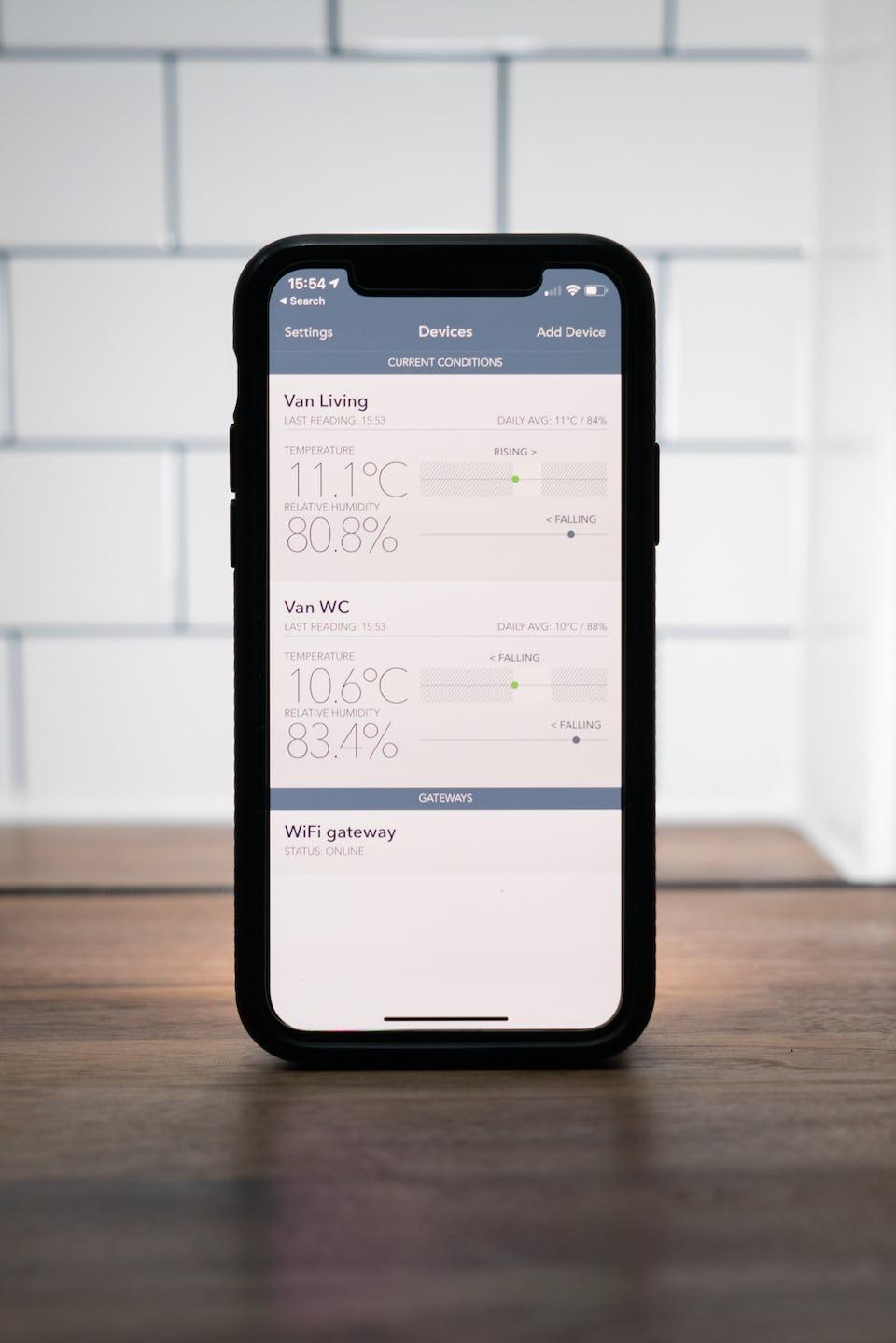SensorPush app on iOS