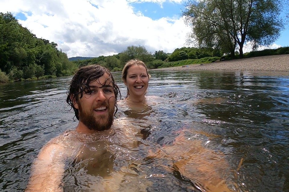 Swimming in the river at Hay-on-Wye