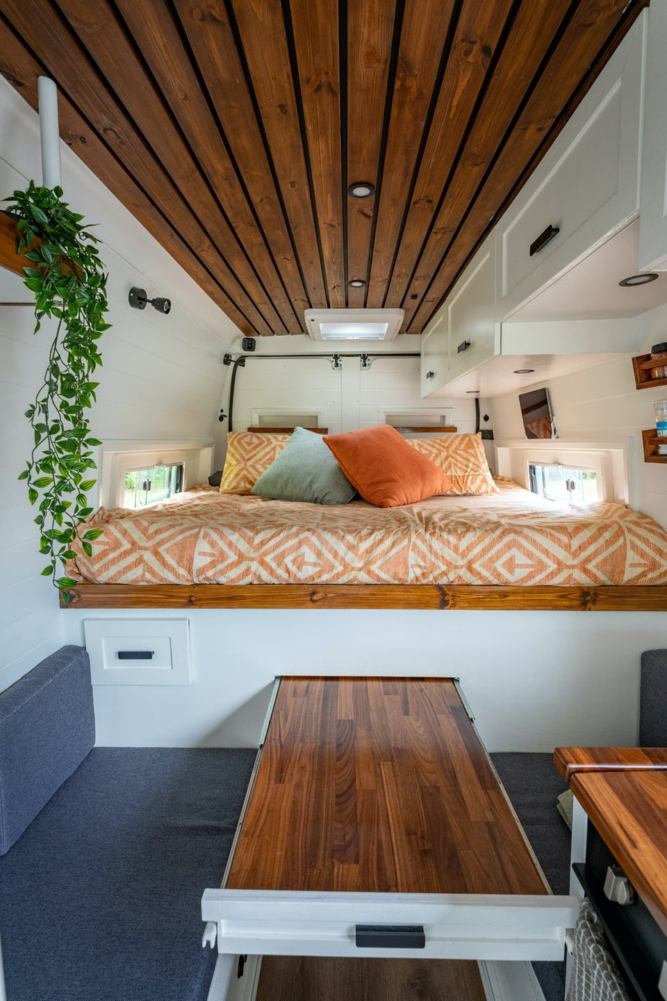 Van conversion with pull out table