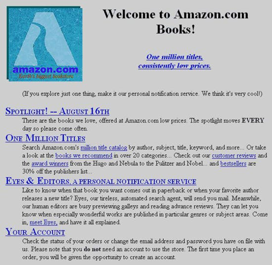 Amazon.com in 1995: one milion book titles