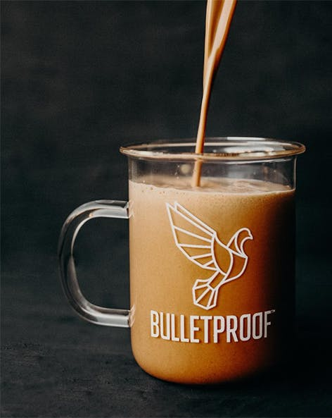 Pouring a cup of bulletproof coffee