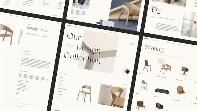 Image bannière du projet Muuto home (Muuto). Mise en page de plusieurs écrans web pour présentation d'un projet UX / UI. Design d'intérieur et mobilier d'intérieur.