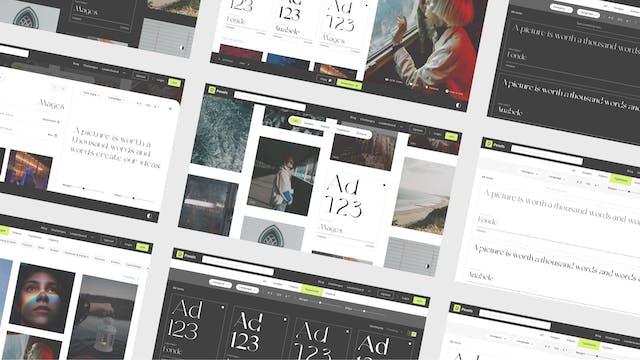 Image bannière du projet Pexels shot (Pexels). Mise en page de plusieurs écrans web pour présentation d'un projet UX / UI. Workshop pour une banque d'image gratuite et libre de droit.