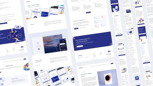 Image bannière du projet Amiltone (ESN sur Lyon). Mise en page de plusieurs écrans web pour présenter le projet UX / UI / Branding.
