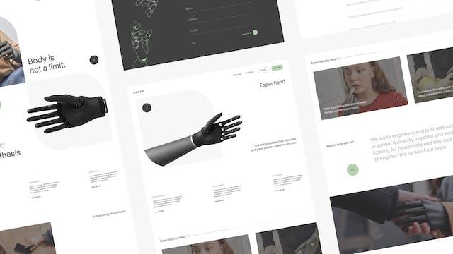 Image bannière du projet Esper hand (Esper bionics). Mise en page de plusieurs écrans web pour présentation d'un projet UX / UI.