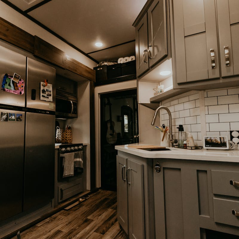 A view of a spacious RV kitchen.