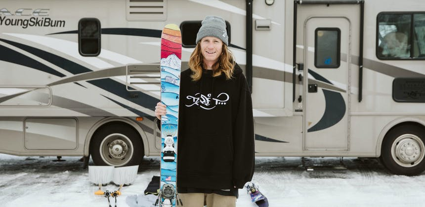 Ryan Barrick standing outside his RV.
