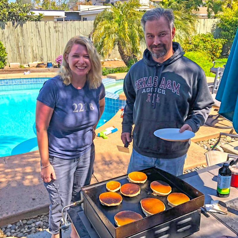 Greg Graham and his sister cooking pancakes.