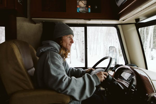 Ryan Barrick driving his RV.