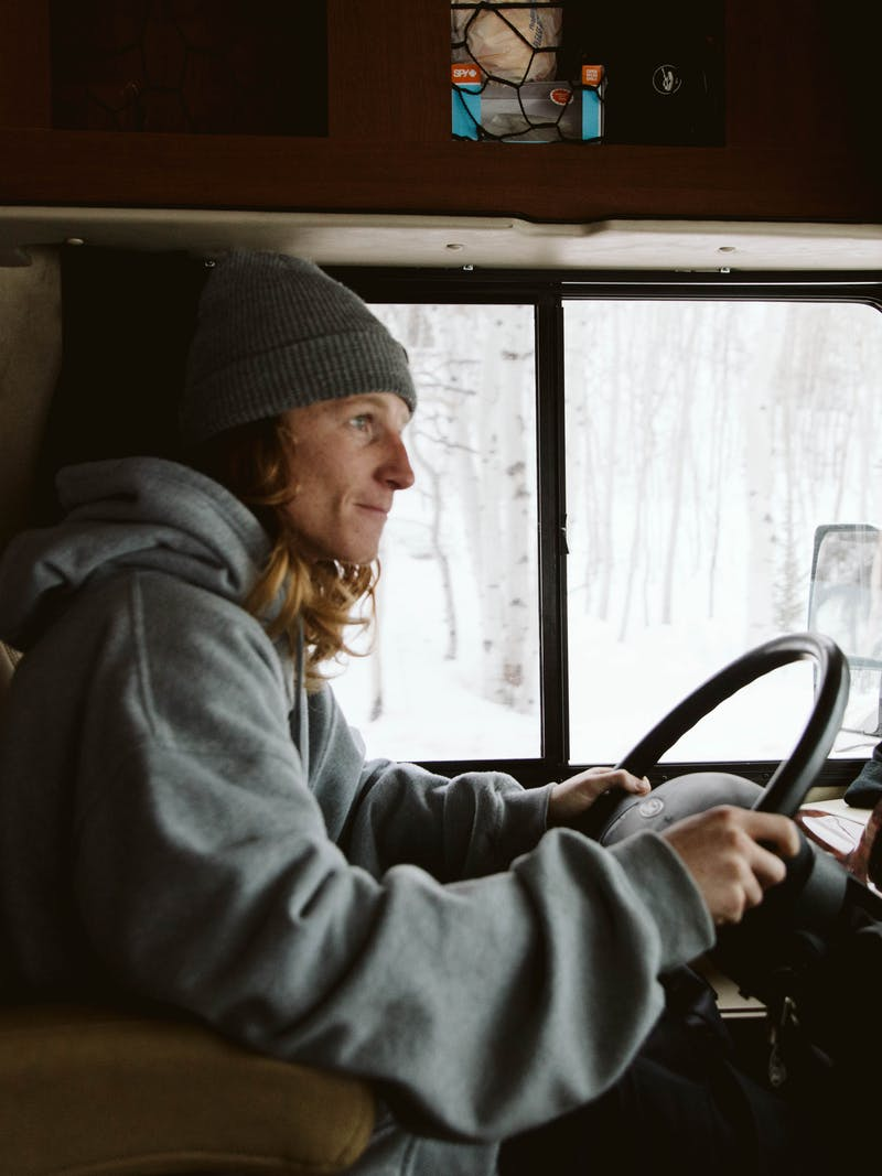 Ryan Barrick driving his RV.