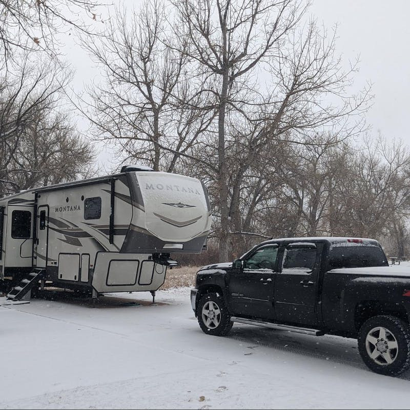 Mike and Brittany Ciepluch's parked in the snow at a campground.