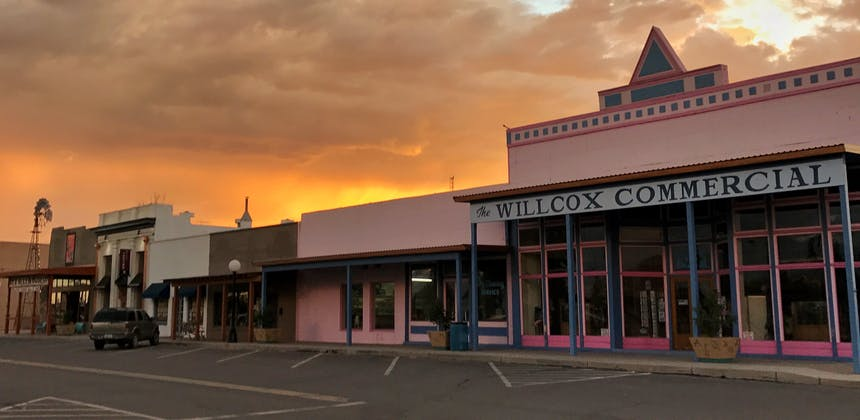 The Willcox Commercial building at sunset.