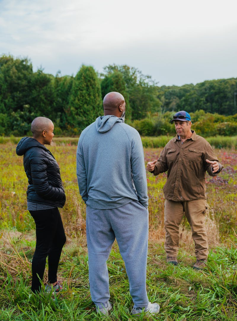 Sonya Lowery and Ray Young on a tour of a cranberry bog in Cape Cod.