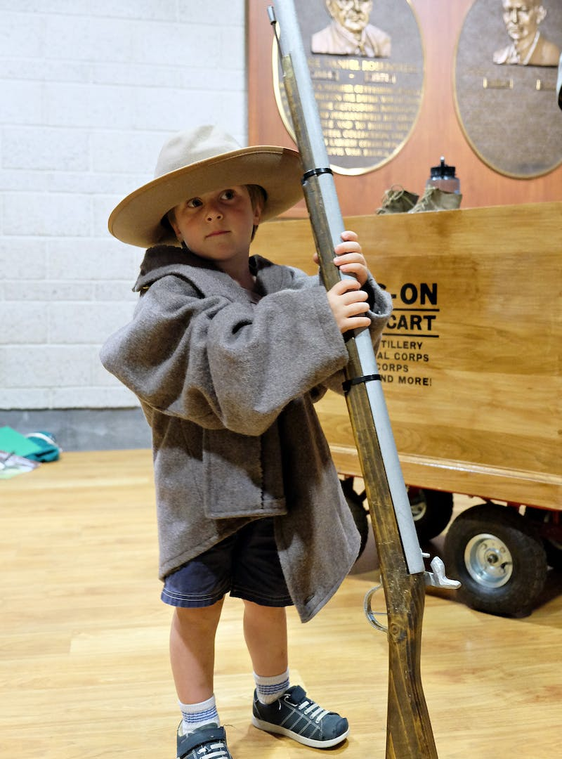 Gretchen Holcomb's young son dressed up as a solider at Gettysburg National Military Park.